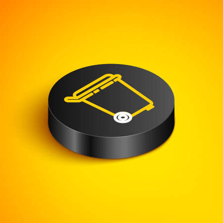 Isometric line Trash can icon isolated on yellow background. Garbage bin sign. Recycle basket icon. Office trash icon. Black circle button. Vector