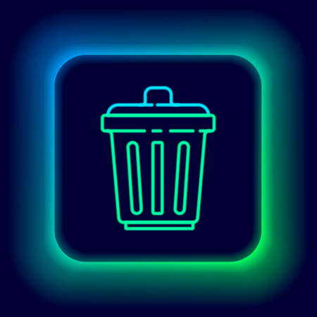 Glowing neon line Trash can icon isolated on black background. Garbage bin sign. Recycle basket icon. Office trash icon. Colorful outline concept. Vector