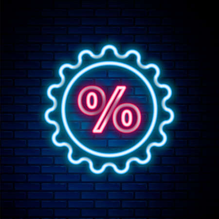 Glowing neon line Discount percent tag icon isolated on brick wall background. Shopping tag sign. Special offer sign. Discount coupons symbol. Colorful outline concept. Vector