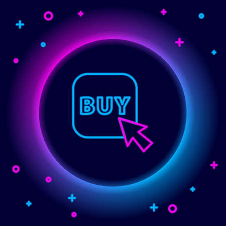 Glowing neon line Buy button icon isolated on black background. Colorful outline concept. Vector