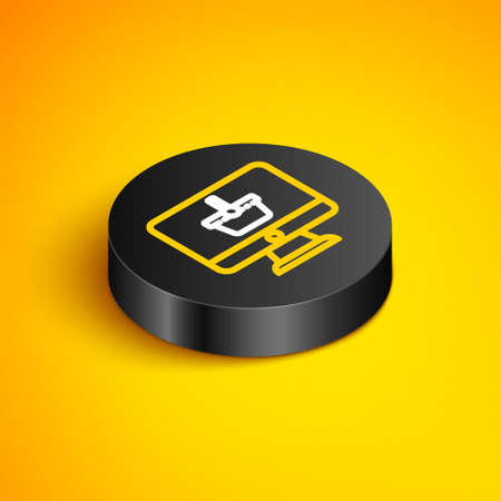 Isometric line Computer monitor with shopping basket icon isolated on yellow background. Online Shopping cart. Supermarket basket symbol. Black circle button. Vector 矢量图像