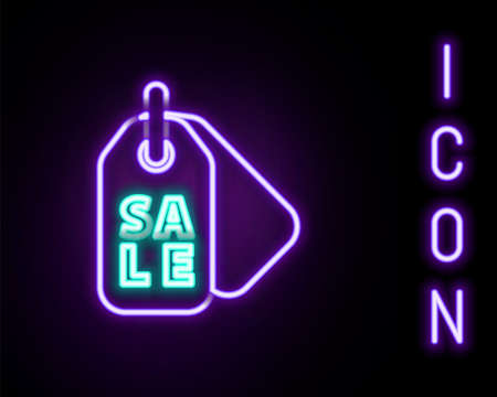 Glowing neon line Price tag with an inscription Sale icon isolated on black background. Badge for price. Promo tag discount. Colorful outline concept. Vector
