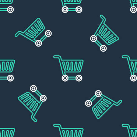 Line Shopping cart icon isolated seamless pattern on black background. Online buying concept. Delivery service sign. Supermarket basket symbol. Vector