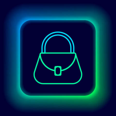 Glowing neon line Handbag icon isolated on black background. Female handbag sign. Glamour casual baggage symbol. Colorful outline concept. Vector
