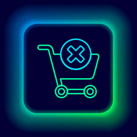 Glowing neon line Remove shopping cart icon isolated on black background. Online buying concept. Delivery service. Supermarket basket and X mark. Colorful outline concept. Vector