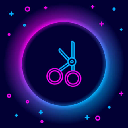 Glowing neon line Medical scissors icon isolated on black background. Colorful outline concept. Vector 矢量图像