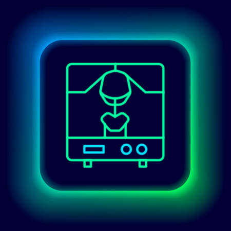 Glowing neon line X-ray machine icon isolated on black background. Colorful outline concept. Vector 矢量图像
