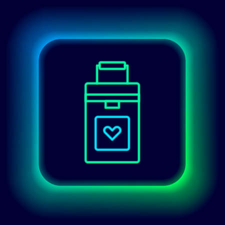Glowing neon line Cooler box for human organs transportation icon isolated on black background. Organ transplantation concept. Organ container. Colorful outline concept. Vector