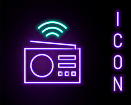 Glowing neon line Smart radio system icon isolated on black background. Internet of things concept with wireless connection. Colorful outline concept. Vector