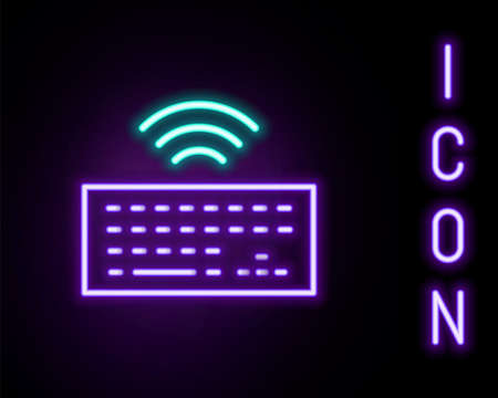 Glowing neon line Wireless computer keyboard icon isolated on black background. PC component sign. Internet of things concept with wireless connection. Colorful outline concept. Vector