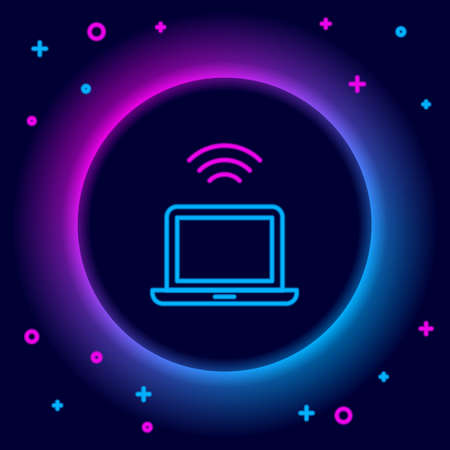 Glowing neon line Wireless laptop icon isolated on black background. Internet of things concept with wireless connection. Colorful outline concept. Vector