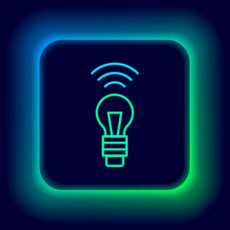 Glowing neon line Smart light bulb system icon isolated on black background. Energy and idea symbol. Internet of things concept with wireless connection. Colorful outline concept. Vector