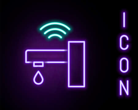 Glowing neon line Smart water tap system icon isolated on black background. Internet of things concept with wireless connection. Colorful outline concept. Vector