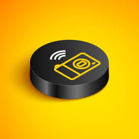Isometric line Smart photo camera system icon isolated on yellow background. Internet of things concept with wireless connection. Black circle button. Vector 矢量图像