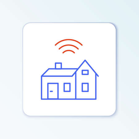 Line Smart home with wireless icon isolated on white background. Remote control. Internet of things concept with wireless connection. Colorful outline concept. Vector