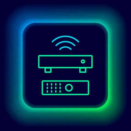 Glowing neon line Wireless multimedia and TV box receiver and player with remote controller icon isolated on black background. Colorful outline concept. Vector 矢量图像