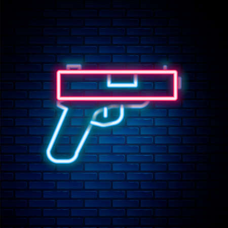 Glowing neon line Pistol or gun icon isolated on brick wall background. Police or military handgun. Small firearm. Colorful outline concept. Vector 矢量图像