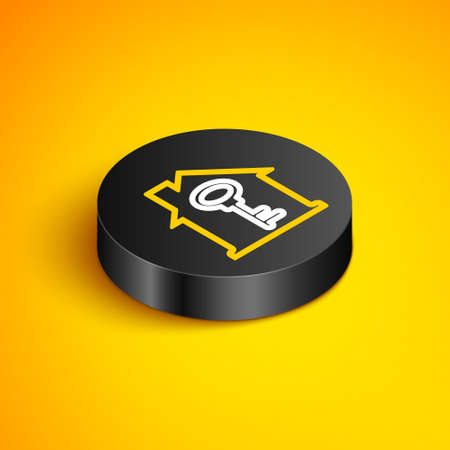 Isometric line House with key icon isolated on yellow background. The concept of the house turnkey. Black circle button. Vector