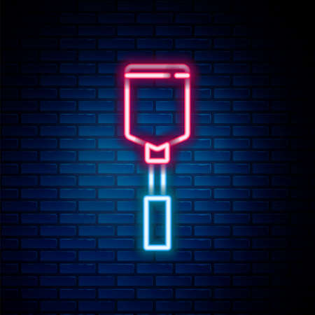 Glowing neon line Spatula icon isolated on brick wall background. Kitchen spatula icon. BBQ spatula sign. Barbecue and grill tool. Colorful outline concept. Vector