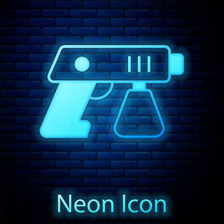 Glowing neon Paint spray gun icon isolated on brick wall background. Vector Ilustração Vetorial
