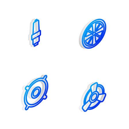 Set Isometric line Alloy wheel, Car spark plug, audio speaker and motor ventilator icon. Vector