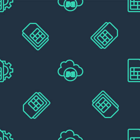 Set line Cloud 5G network, Sim card and setting on seamless pattern. Vector