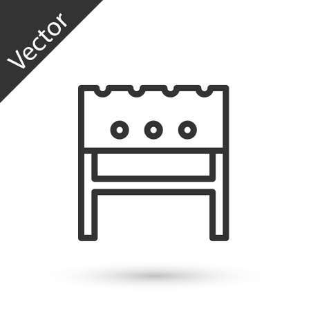Grey line BBQ brazier icon isolated on white background. Vector
