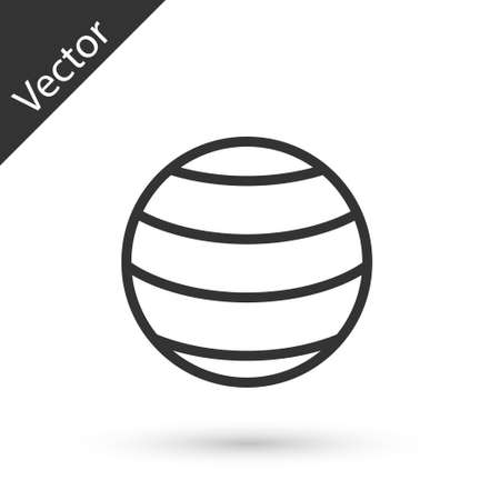 Grey line Planet icon isolated on white background. Vector