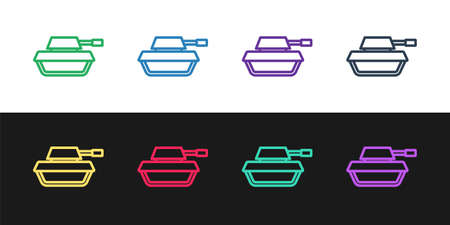 Set line Military tank icon isolated on black and white background. Vector