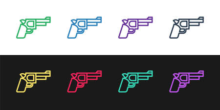 Set line Pistol or gun icon isolated on black and white background. Police or military handgun. Small firearm. Vector