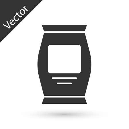 Grey Fertilizer bag icon isolated on white background. Vector