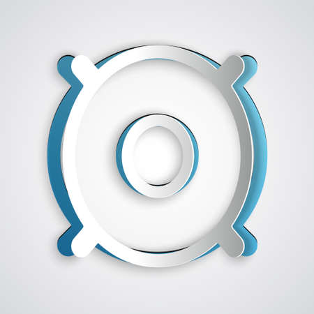 Paper cut Car audio speaker icon isolated on grey background. Paper art style. Vector Vector Illustratie