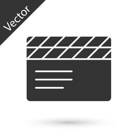 Grey Movie clapper icon isolated on white background. Film clapper board. Clapperboard sign. Cinema production or media industry. Vector