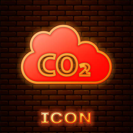 Glowing neon CO2 emissions in cloud icon isolated on brick wall background. Carbon dioxide formula, smog pollution concept, environment concept. Vector