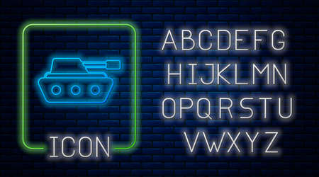 Glowing neon Military tank icon isolated on brick wall background. Neon light alphabet. Vector