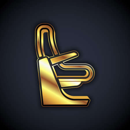 Gold Airplane seat icon isolated on black background. Vector