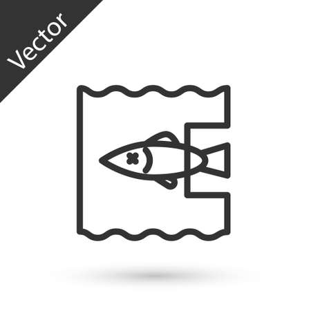 Grey line Stop ocean plastic pollution icon isolated on white background. Environment protection concept. Fish say no to plastic. Vector Illustration