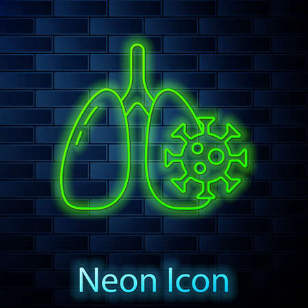 Glowing neon line Virus cells in lung icon isolated on brick wall background. Infected lungs. Vectores