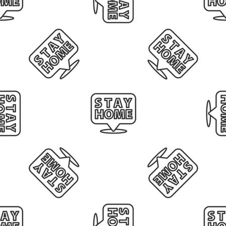 Grey line Stay home icon isolated seamless pattern on white background. Vectores