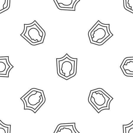 Grey line Life insurance with shield icon isolated seamless pattern on white background. Security, safety, protection, protect concept. Vector.