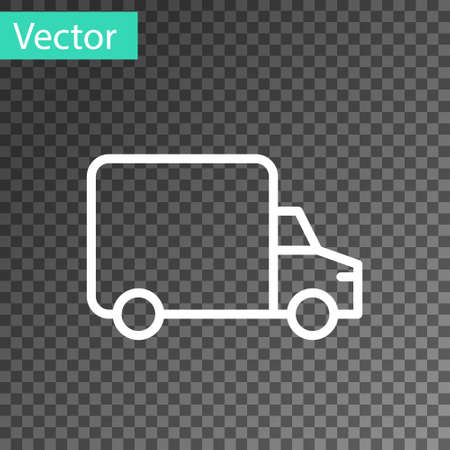 Black Delivery cargo truck vehicle icon isolated on transparent background. Vector