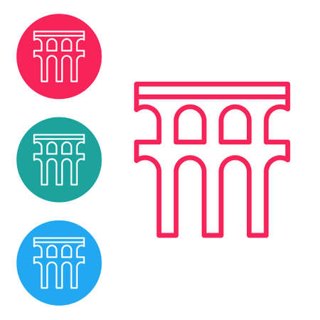 Red line Aqueduct of Segovia, Spain icon isolated on white background. Roman Aqueduct building. National symbol of Spain. Set icons in circle buttons. Vector