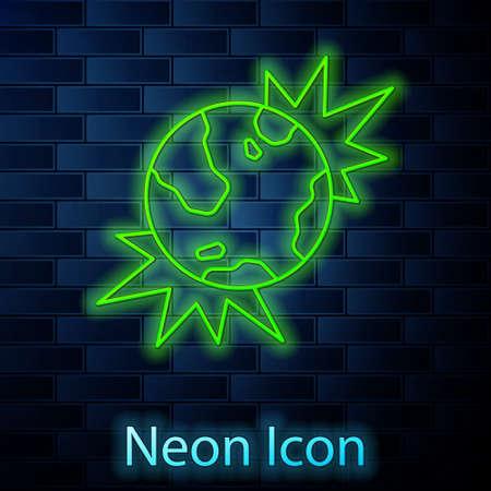 Glowing neon line Bomb explosive planet earth war danger icon isolated on brick wall background. Vector Vektoros illusztráció