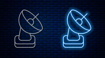 Glowing neon line Radar icon isolated on brick wall background. Search system. Satellite sign. Vector