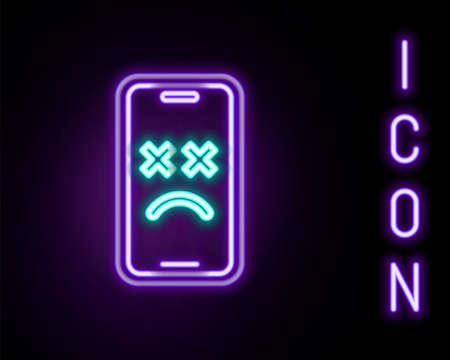 Glowing neon line Dead mobile icon isolated on black background. Deceased digital device emoji symbol. Corpse smartphone showing facial emotion. Colorful outline concept. Vector Vektorové ilustrace