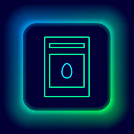 Glowing neon line Pack full of seeds of a specific plant icon isolated on black background. Colorful outline concept. Vector