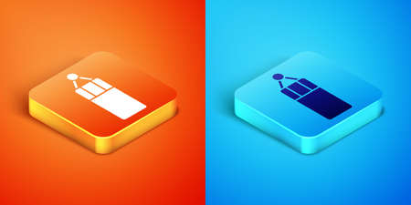 Isometric Punching bag icon isolated on orange and blue background. Vector