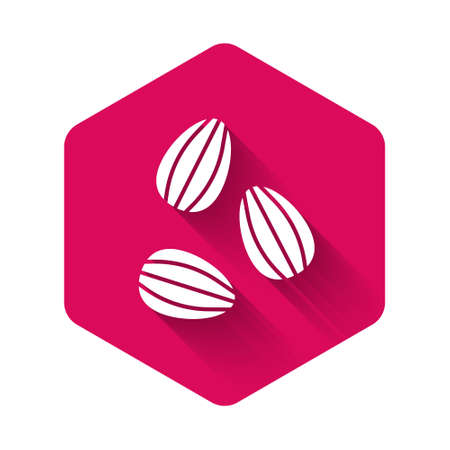 White Seeds of a specific plant icon isolated with long shadow background. Pink hexagon button. Vector