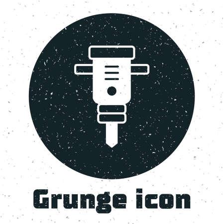 Grunge Construction jackhammer icon isolated on white background. Monochrome vintage drawing. Vector