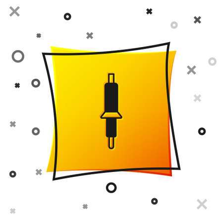 Black Soldering iron icon isolated on white background. Yellow square button. Vector